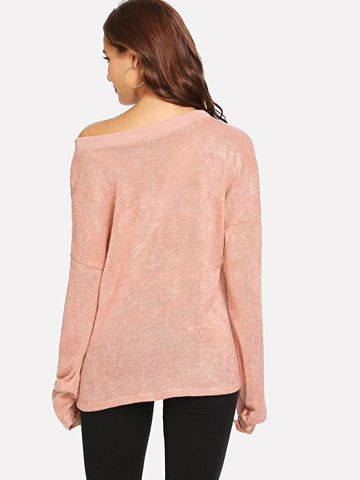 Image of V Neck Solid Sweater