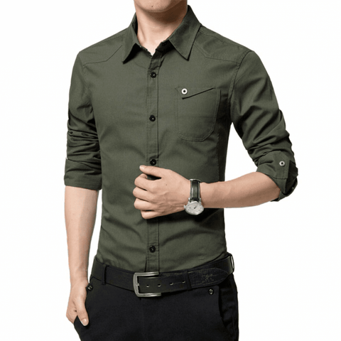 Mens Shirt with Flip Down Pocket - LoveLuve