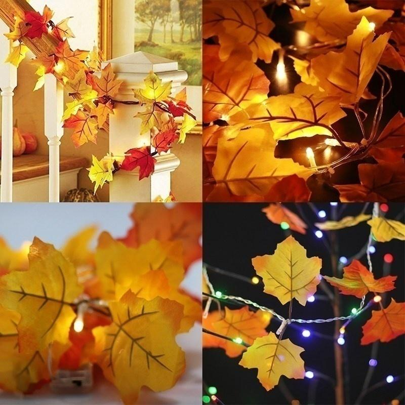 Thanksgiving Decorations Lighted Fall Garland, Thanksgiving Decor Halloween String Lights 8.2 Feet 20 LED, Thanksgiving Gift - LoveLuve