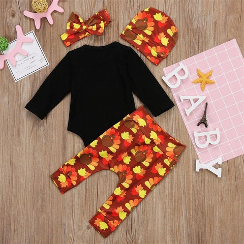 Image of Newborn Kids Thanksgiving Baby Boy Girl Clothes Hat Romper Bodysuit Outfit Set - LoveLuve