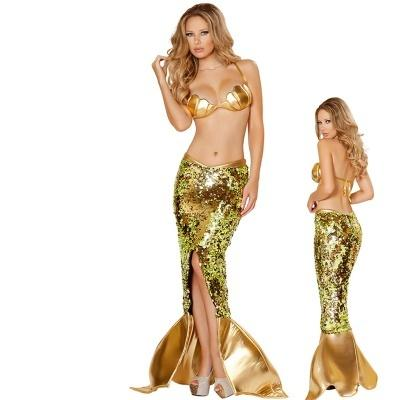 Costume Adult Mermaid Princess Dress Sexy Strapless Dress Performance Costumes for Halloween - LoveLuve