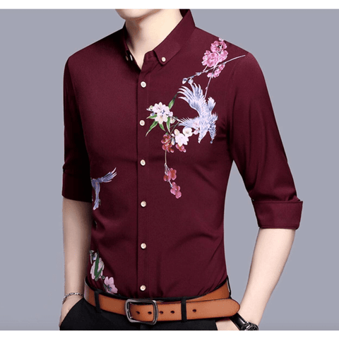 Mens Long Sleeve Pattern Shirt - LoveLuve
