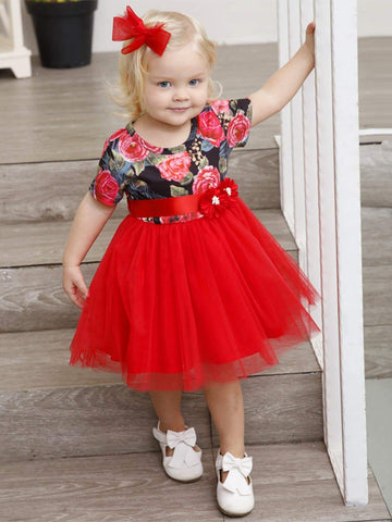Image of Toddler Girls Floral Contrast Mesh Ball Gown Dress
