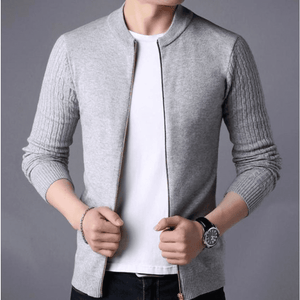 Mens Round Neck Zip Up Cardigan in Gray