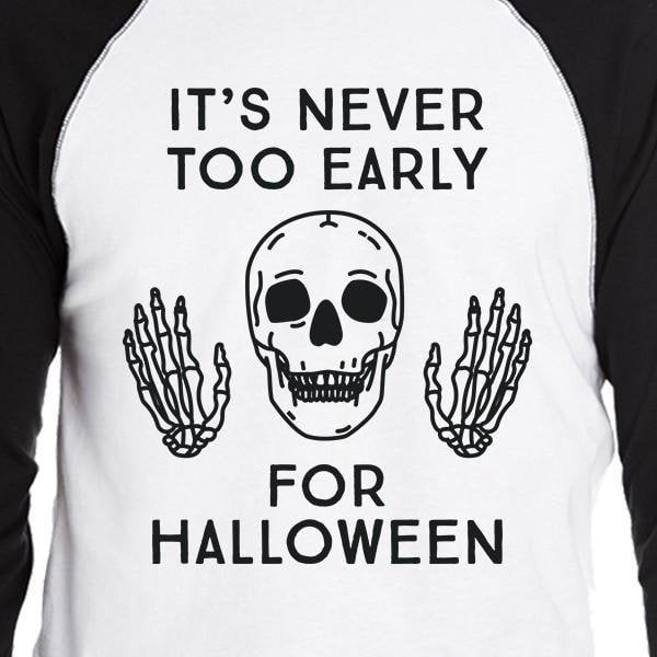 It's Never Too Early For Halloween Mens Black And White Baseball Shirt - LoveLuve