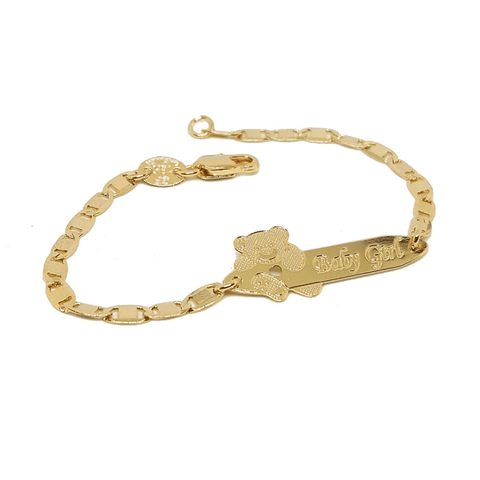 "(1-0815-h5) Gold Filled Baby Bracelet with Bear, 6"" - LoveLuve"