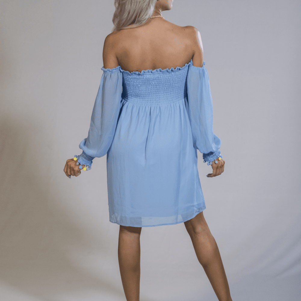 Breezy off shoulder tunic top-light blue - LoveLuve