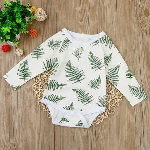 Image of Baby Bodysuits Newborn Baby Leaves Printing Long - LoveLuve