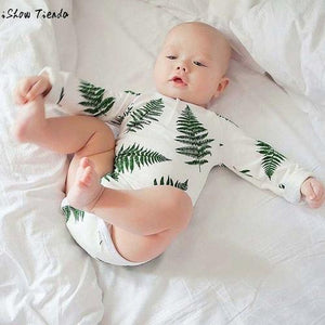 Baby Bodysuits Newborn Baby Leaves Printing Long - LoveLuve