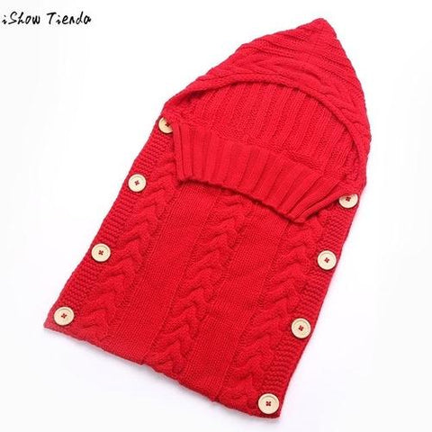 Image of Baby Sleeping Bag Newborn Hood Button Knitting - LoveLuve