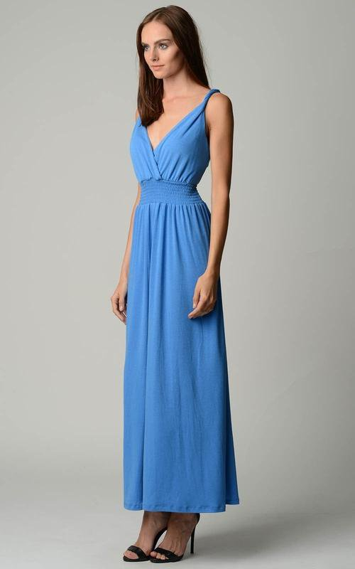 Women's Smocked Wrap Maxi Dress