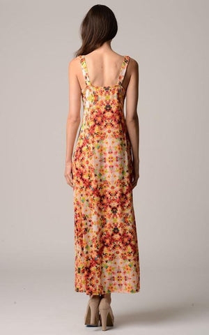 Image of Women's V-Neck Printed Jersey Empire Waist Maxi
