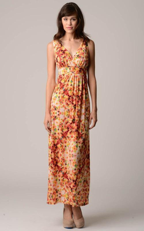 Women's V-Neck Printed Jersey Empire Waist Maxi