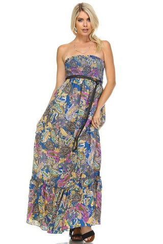 Image of Women's Paisley Printed Strapless Belted Maxi