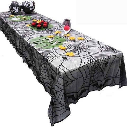 Image of Halloween Spider Web Tablecloth Halloween Black - LoveLuve