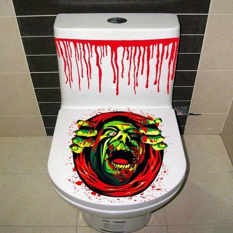 Image of Halloween Toilet Cover Sticker 3D Scary Zombie - LoveLuve