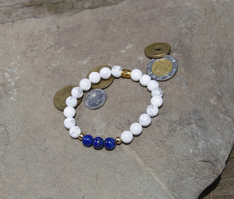 Image of Natural Lapis Lazuli Howlite Beaded Bracelet - LoveLuve