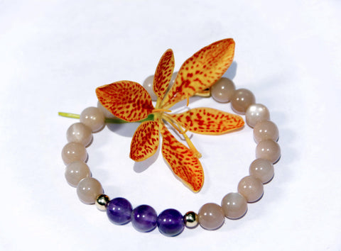 Image of Natural Amethyst Moon Stone Beaded Bracelet - LoveLuve