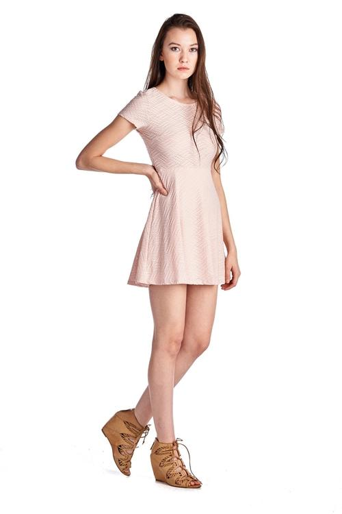Women's Textured Knit Skater Dress