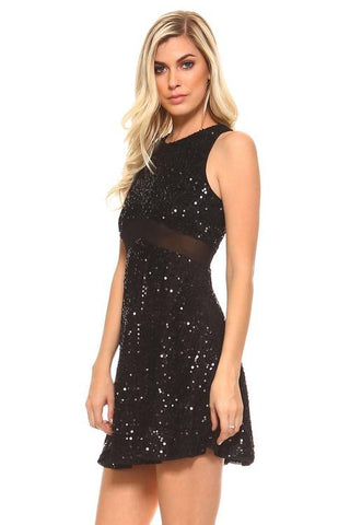 Image of Women's Short Sequinned Dress With Mesh