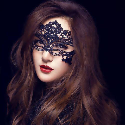 Image of Masquerade Lace Mask Catwoman Halloween Black - LoveLuve