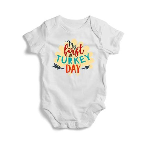 My First Turkey Day Baby Short Sleeve Bodysuit - - LoveLuve