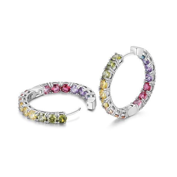 Sterling Silver Dazzling Rainbow Hoop Earrings