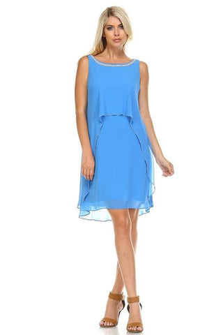 Image of Women's Beaded Neckline Chiffon Dress