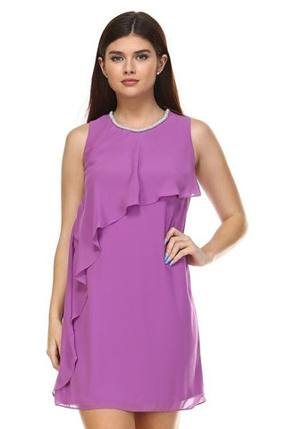 Women's Petite Beaded Neckline Chiffon Dress