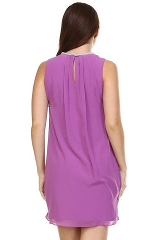 Image of Women's Petite Beaded Neckline Chiffon Dress