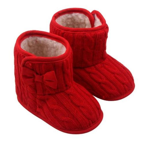 Snow Boots Baby Hook Loop Baby Bowknot Soft Sole - LoveLuve
