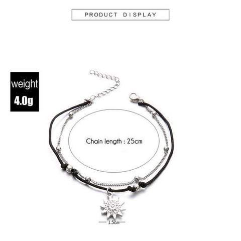 Image of Double Chain Sun Anklet Jewelry - LoveLuve