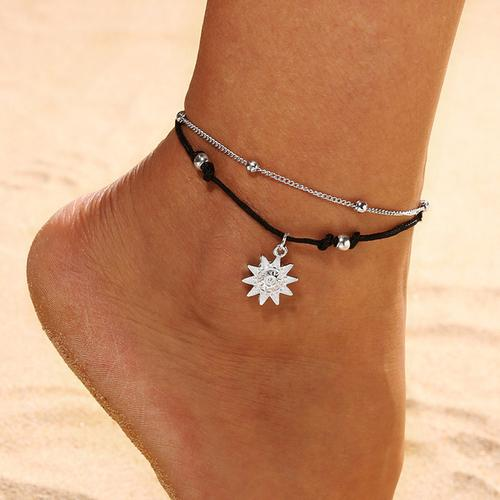 Double Chain Sun Anklet Jewelry - LoveLuve