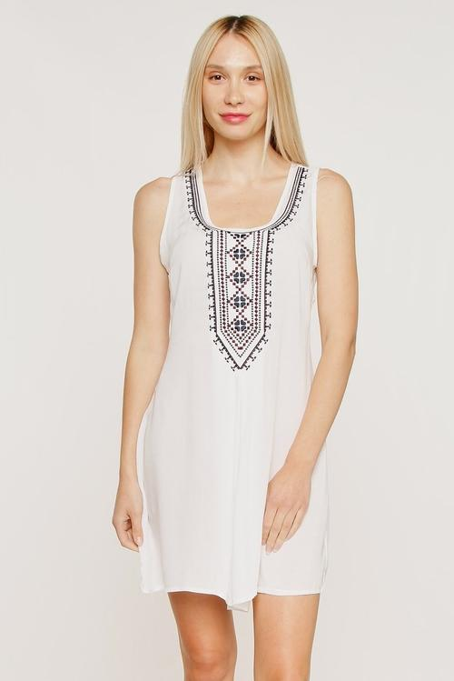 Sleeveless Front Embroidery Shift Mini Dress - LoveLuve