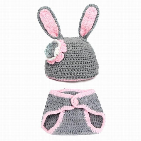 Image of Handmade knitted outfits newborn infant baby boys Girls Animal Costume Crochet Clothing Sets Beanie cap shorts photography props - LoveLuve