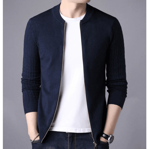 Mens Round Neck Zip Up Cardigan in Navy - LoveLuve