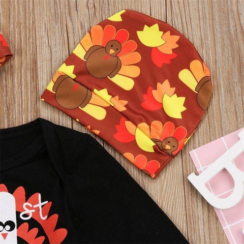 Newborn Kids Thanksgiving Baby Boy Girl Clothes Hat Romper Bodysuit Outfit Set - LoveLuve
