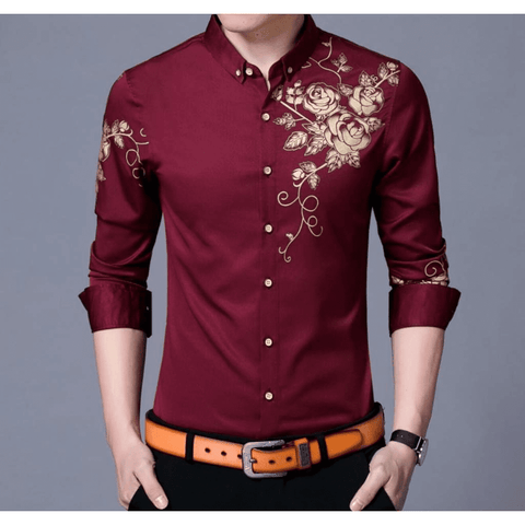 Mens Midnight Black Button Front Shirt with Floral Design - LoveLuve