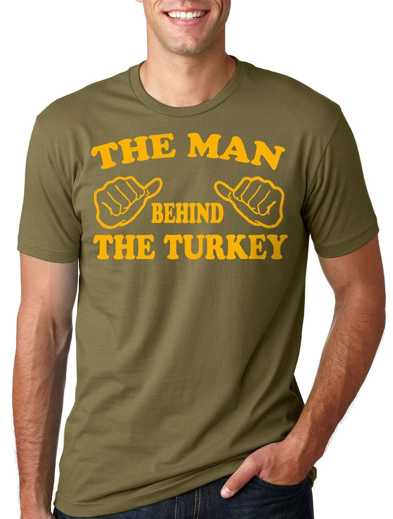 Man Behind The Turkey T-Shirt Thanksgiving Day Tee Shirt Dad Maternity Top - LoveLuve