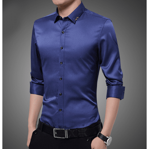 Mens Shirt with Embroidered Collar - LoveLuve