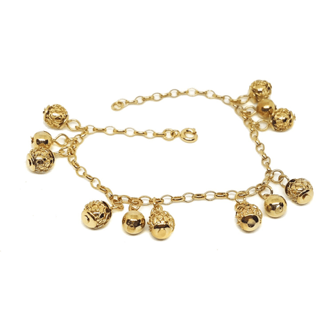 "Image of (1-0825-H5) Gold plated Filigree Ball Charms Bracelet, 7-1/4"". - LoveLuve"