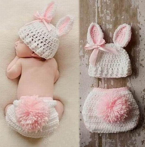 Handmade knitted outfits newborn infant baby boys Girls Animal Costume Crochet Clothing Sets Beanie cap shorts photography props - LoveLuve