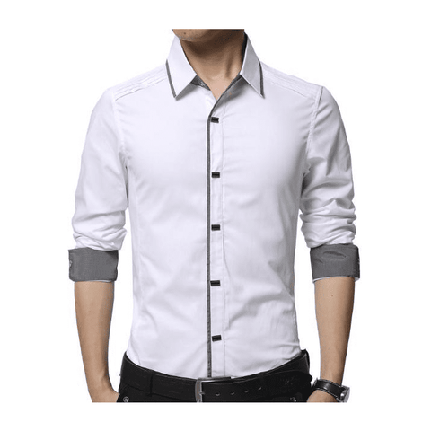 Mens Shirt with Layered Shoulder Details in Black - LoveLuve