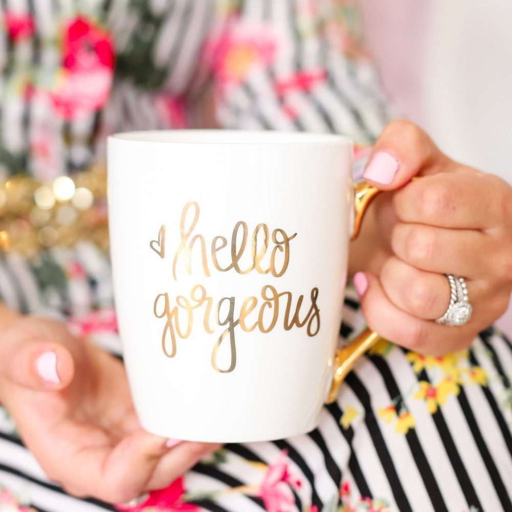 Hello Gorgeous Gold Coffee Mug - LoveLuve