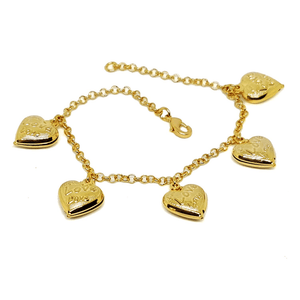 "(1-0769-h5) Gold Plated Heart Charms Bracelet, 7-1/2"". - LoveLuve"