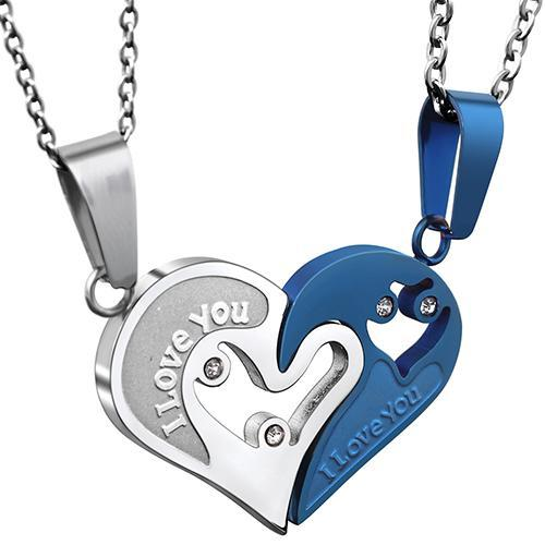 Two Colors Stainless Steel Men & Women Couple Matching Necklace - LoveLuve