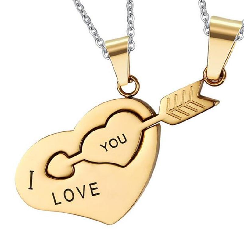 and love product hers his men steel amour hearts stainless you women necklace i alloy couple pendant silver