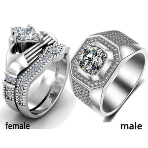 Trendy Jewelry His and Hers Titanium Stainless Steel Matching Couple Ring Set - LoveLuve