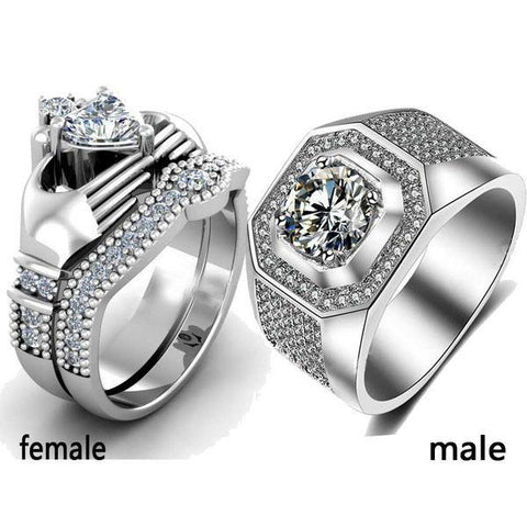 d7fc4d3780 Image of Trendy Jewelry His and Hers Titanium Stainless Steel Matching  Couple Ring Set - LoveLuve ...