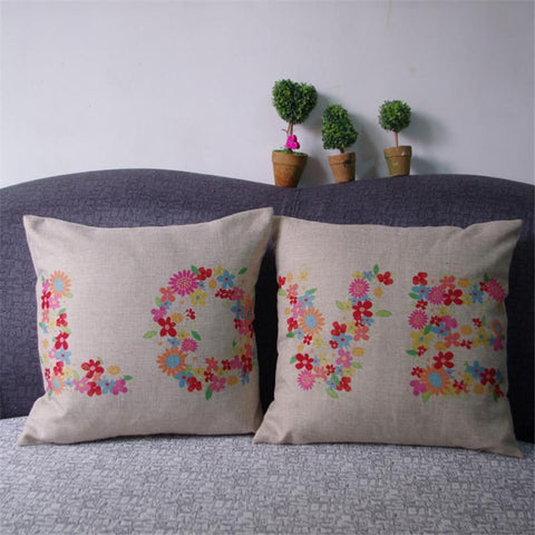 Image of Romantic Floral LOVE Pattern Linen Couples Pillow Cases - LoveLuve